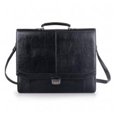 Портфель Бизнес, 41х34х10 см, искуственная кожа, черный, 309