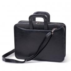 Портфель из кожзаменителя, 2 отделения, на молнии, Карьера, 36х31х7 см, черный