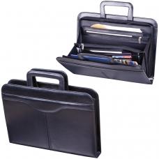 Папка из натуральной кожи на молнии, с выдвижными ручками, 385х280х50, черная, 8-021