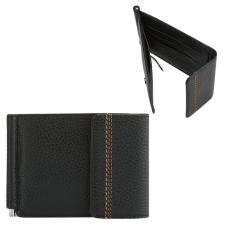 Зажим для купюр FABULA Brooklyn, натуральная кожа, контрастная отстрочка, 86х126 мм, черный, Z.11.BR