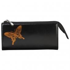 Портмоне женское BEFLER 'Бабочка', натуральная кожа, молния, тиснение, 190х105 мм, черное, PJ.157.-11