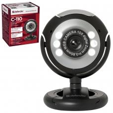 Веб-камера DEFENDER C-110, 0,3 Мп, микрофон, USB 2.0/1.1+3.5 мм jack, подсветка, регулируемое крепление, черная, 63110