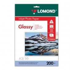 Фотобумага LOMOND для струйной печати, A3, 200 г/м2, 50 л., односторонняя глянцевая, 0102024