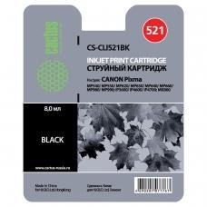 Картридж струйный CACTUS CS-CLI521BK для CANON Pixma MP540/630/980, черный фото