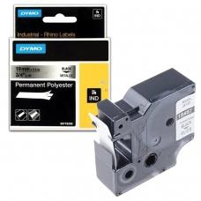 Картридж для принтеров этикеток DYMO Rhino, 19 мм х 5,5 м, лента полиэстерная, экстремальная температура, чёрный шрифт, металлик, 18487