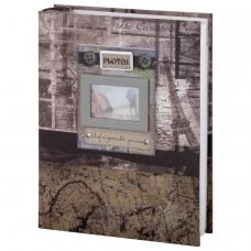 Фотоальбом BRAUBERG на 200 фотографий 10х15 см, твердая обложка, Путешествие, бокс, коричневый, 390672