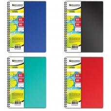 Тетрадь А4- 175х248 мм, 80 л., BRAUBERG, гребень, клетка, обложка пластик, ОФИС 4 вида, 401796