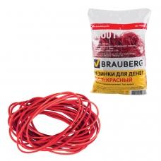 Резинки банковские универсальные, BRAUBERG 1000 г, диаметр 60 мм, красные, натуральный каучук, 440101