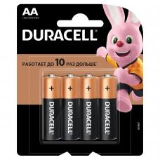 Батарейки DURACELL Basic, AA LR06, 15А, алкалиновые, КОМПЛЕКТ 4 шт., в блистере, MN 1500 АА LR6