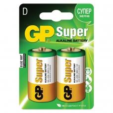 Батарейки GP Super, D LR20, 13 А, алкалиновые, комплект 2 шт., в блистере