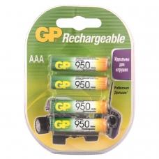 Батарейки аккумуляторные GP, AAA, Ni-Mh, 950 mAh, комплект 4 шт., в блистере