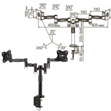 Кронштейн для 2 мониторов настольный KROMAX OFFICE-3, VESA 75/100, 10'-24', до 2х10 кг, 7 степеней свободы, 20032