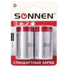 Батарейки SONNEN, D R20, солевые, КОМПЛЕКТ 2 шт., в блистере, 451100