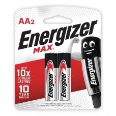 Батарейки ENERGIZER MAX, AA LR6, комплект 2 шт., АЛКАЛИНОВЫЕ, 1,5 В работают до 10 раз дольше, LR6/E91 AA FSB2
