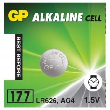 Батарейка GP Alkaline 177 G4, LR626, алкалиновая, 1 шт., в блистере отрывной блок, 4891199026690