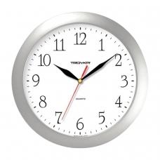 Часы настенные TROYKA 11170113, круг, серебристые, серебристая рамка, 29х29х3,5 см