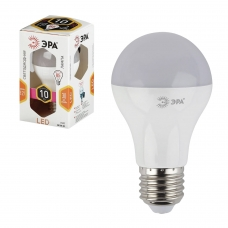Лампа светодиодная ЭРА, 11 100 Вт, цоколь E27, грушевидная, теплый белый свет, 25000 ч., LED, smdA60-10w-827-E27, Б0020532