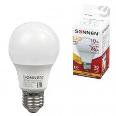 Лампа светодиодная SONNEN, 10 85 Вт, цоколь Е27, грушевидная, теплый белый свет, LED A60-10W-2700-E27, 453695