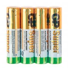 Батарейки GP Super, AAA LR03, 24А, алкалиновые, комплект 4 шт., в пленке, 24ARS-2SB4