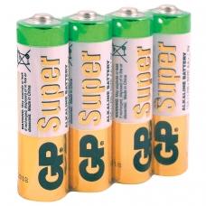 Батарейки GP Super, AA LR06, 15А, алкалиновые, комплект 4 шт., в пленке, 15ARS-2SB4