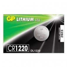 Батарейка GP Lithium, CR1220, литиевая, 1 шт., в блистере отрывной блок, CR1220RA-7C5