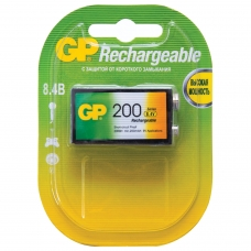 Батарейка аккумуляторная GP, Крона 20R8H, 6F22, Ni-Mh, 200 mAh, 1 шт., в блистере, 20R8H-2CRU1