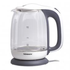 Чайник SONNEN KT-1792, 1,7 л, 2200 Вт, закрытый нагревательный элемент, стекло, белый, подсветка, 454348