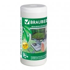 Чистящие салфетки BRAUBERG для LCD ЖК-мониторов, сухие и влажные в тубе, 50+50 шт., 510121
