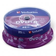 Диски DVD+R плюс VERBATIM 4,7 Gb 16x, КОМПЛЕКТ 25 шт., Cake Box, 43500