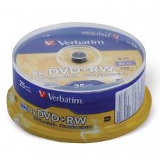Диски DVD+RW плюс VERBATIM 4,7 Gb 4x, КОМПЛЕКТ 25 шт., Cake Box, 43489