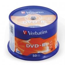 Диски DVD-Rминус VERBATIM 4,7 Gb 16x, КОМПЛЕКТ 50 шт., Cake Box, 43548