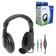 Наушники с микрофоном гарнитура DEFENDER HN-750, проводная, 2 м, стерео с оголовьем, регулятор громкости, 63750