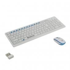 Набор беспроводной DEFENDER Skyline895, клавиатура, мышь 2 кнопки + 1 колесо + 1 dpi, белый/голубой, 45895