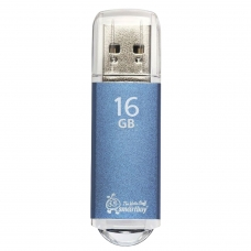 Флэш-диск 16 GB, SMARTBUY V-Cut, USB 2.0, металлический корпус, синий, SB16GBVC-B