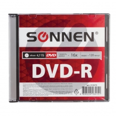 Диск DVD-R SONNEN, 4,7 Gb, 16x, Slim Case 1 штука, 512575