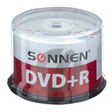 Диски DVD + R плюс SONNEN 4,7 Gb 16x Cake Box, КОМПЛЕКТ 50 шт., 512577