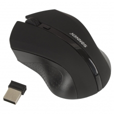 Мышь беспроводная SONNEN WM-250Bk, USB, 1600 dpi, 3 кнопки + 1 колесо-кнопка, оптическая, черная