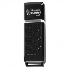 Флэш-диск 16 GB, SMARTBUY Quartz, USB 2.0, черный, SB16GBQZ-K