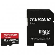 Карта памяти microSDXC 64 GB TRANSCEND UHS-I U1, 95 Мб/сек class 10, адаптер, TS64GUSD300S-A
