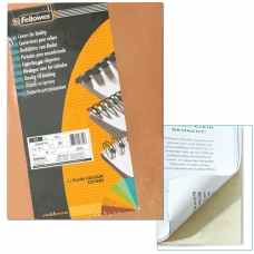 Обложки для переплета FELLOWES, комплект 100 шт., 'Delta' тиснение под кожу, А4, картон 250 г/м2, 'слоновая кость', FS-53700