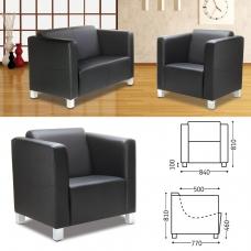 Кресло 'Милано', 810х840х770 мм, c подлокотниками, экокожа, черное