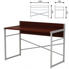 Стол письменный на металлокаркасе, 1200х590х855 мм, серый каркас, ЛДСП, 'орех', Д-248