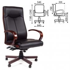 Кресло офисное 'Элегант', СН 411, экокожа, дерево, черное, 7001364