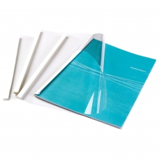 Обложки для термопереплета FELLOWES, комплект 100 шт., А4, 6 мм, 44-60 л., верх - прозрачный ПВХ, низ - картон, FS-53154