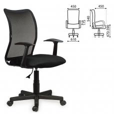 Кресло BRABIX Spring MG-307, с подлокотниками, черное, ткань TW, 531406