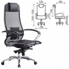 Кресло офисное МЕТТА 'SAMURAI' S-1, сверхпрочная ткань-сетка, черное