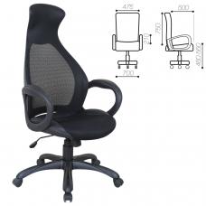Кресло офисное BRABIX 'Genesis EX-517', пластик черный, ткань/экокожа/сетка черная, 531574
