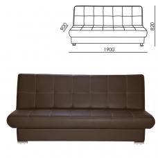 Диван мягкий раскладной Модесто, 1900х900х820 мм, экокожа, коричневый