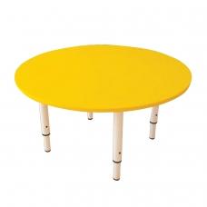 Стол детский круглый, 800х800х400-580 мм, регулируемый, рост 0-3 85-145 см, пластик желтый, слоновая кость