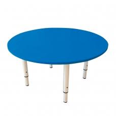 Стол детский круглый 800х800х400-580 мм, регулируемый, рост 0-3 85-145 см, пластик синий, слоновая кость